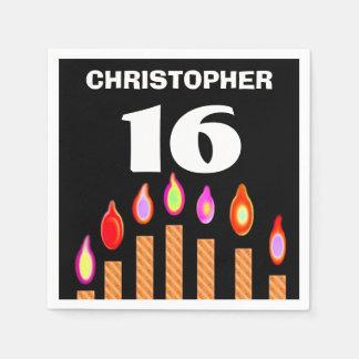 décimosexto El oro del cumpleaños mira al trasluz Servilleta Desechable
