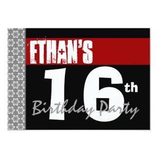 """décimosexto Fiesta de cumpleaños 2F blanco y negro Invitación 5"""" X 7"""""""