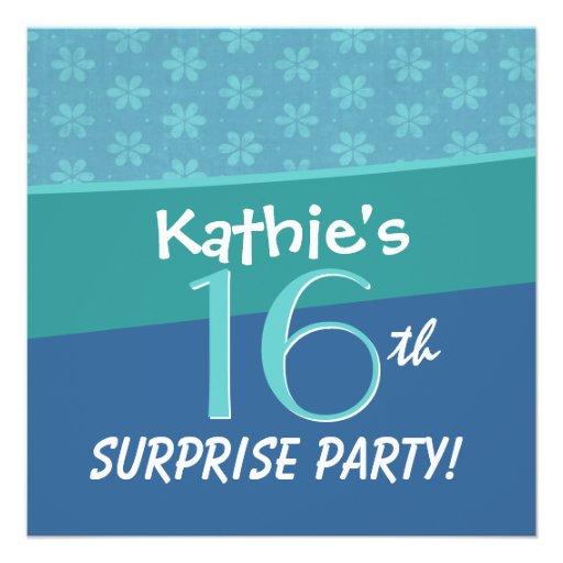 Décimosexto fiesta de cumpleaños de la sorpresa de invitación personalizada