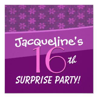 """Décimosexto fiesta de cumpleaños de la sorpresa de invitación 5.25"""" x 5.25"""""""