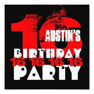 """Décimosexto fiesta de cumpleaños del NEGRO ROJO Invitación 5.25"""" X 5.25"""""""