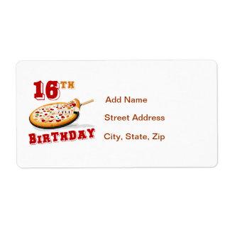 décimosexto Fiesta de la pizza del cumpleaños Etiquetas De Envío