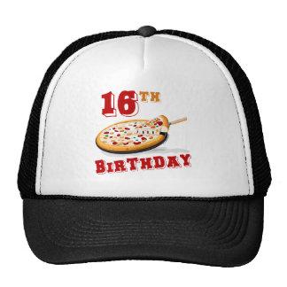 décimosexto Fiesta de la pizza del cumpleaños Gorros