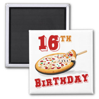 décimosexto Fiesta de la pizza del cumpleaños Imán Cuadrado