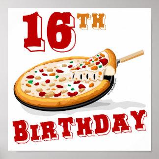décimosexto Fiesta de la pizza del cumpleaños Póster