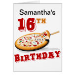 décimosexto Fiesta de la pizza del cumpleaños Felicitacion
