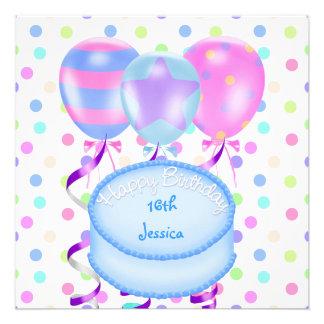 décimosexto Flámulas de la torta de los globos de Invitacion Personal