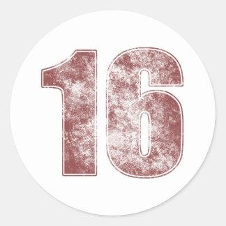 décimosexto Grunge del rojo del cumpleaños Pegatina Redonda