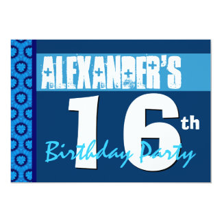 décimosexto Invitación adolescente azul moderna de Invitación 12,7 X 17,8 Cm