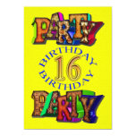 décimosexto invitación de la fiesta de cumpleaños invitación 12,7 x 17,8 cm