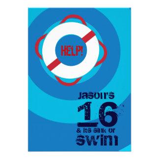 décimosexto Invitación de la fiesta en la piscina