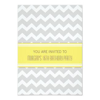 Décimosexto invitación gris amarilla de la fiesta