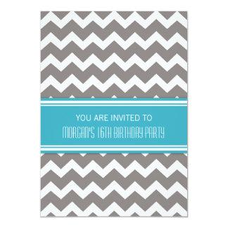 """Décimosexto invitaciones azules de la fiesta de invitación 5"""" x 7"""""""