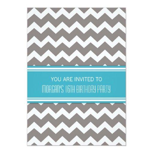 Décimosexto invitaciones azules de la fiesta de invitación 12,7 x 17,8 cm