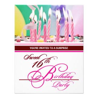 Décimosexto invitaciones de la fiesta de cumpleaño invitaciones personalizada