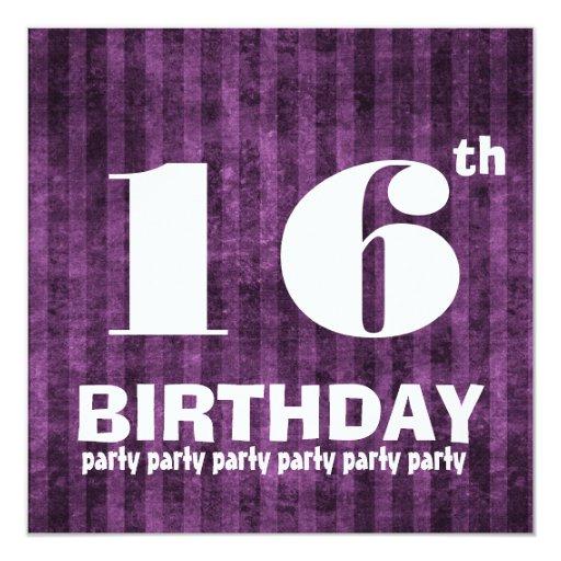 """décimosexto La púrpura de la fiesta de cumpleaños Invitación 5.25"""" X 5.25"""""""
