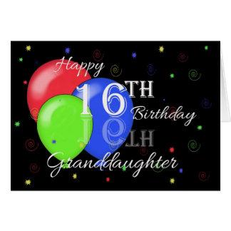 Décimosexto nieta feliz del cumpleaños tarjeta de felicitación