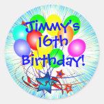 décimosexto O cuaesquiera pegatinas del cumpleaños Etiquetas Redondas