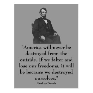 décimosexto Presidente Abraham Lincoln Tarjeta Postal