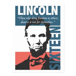 Décimosexto presidente de Abraham Lincoln Tarjeta Postal