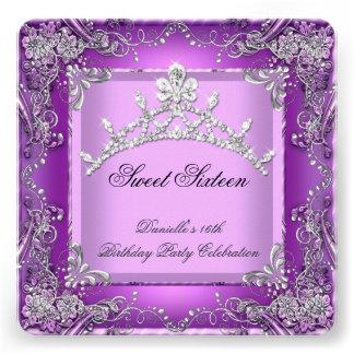 Décimosexto púrpura de la fiesta de cumpleaños 16 invitacion personalizada