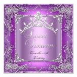 Décimosexto púrpura de la fiesta de cumpleaños 16 invitación