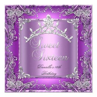 Décimosexto púrpura de la fiesta de cumpleaños 16 invitación 13,3 cm x 13,3cm