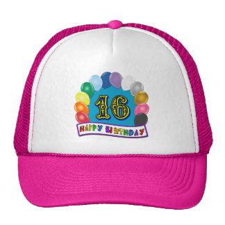 décimosexto Regalos de cumpleaños con diseño clasi Gorra