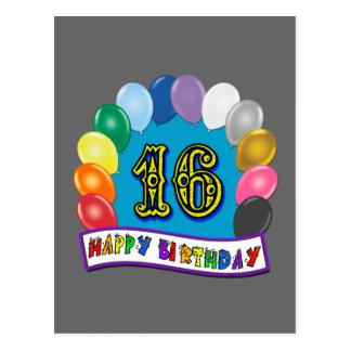 décimosexto Regalos de cumpleaños con diseño Tarjeta Postal