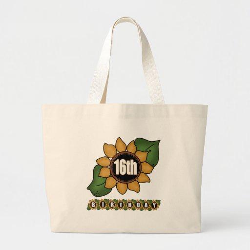 Décimosexto regalos de cumpleaños del girasol bolsas de mano