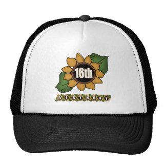Décimosexto regalos de cumpleaños del girasol gorras