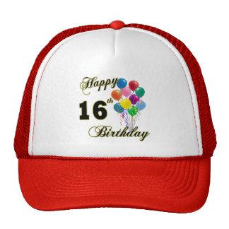 Décimosexto regalos de cumpleaños y ropa felices d gorras