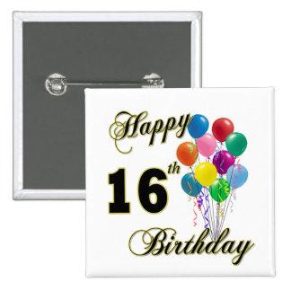 Décimosexto regalos de cumpleaños y ropa felices d pin cuadrada 5 cm