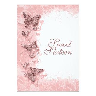 décimosexto rosa de la fiesta de cumpleaños del invitación 12,7 x 17,8 cm