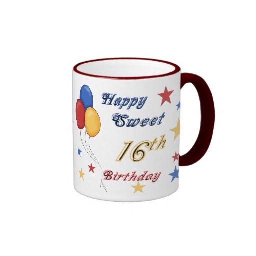 Décimosexto taza del cumpleaños del dulce feliz