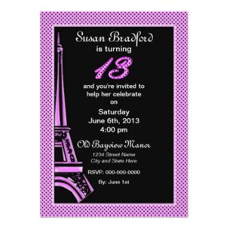 Décimotercer cumpleaños - invite - francés/torre E Invitaciones Personales