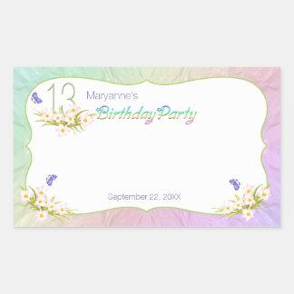 décimotercero Arco iris y fiesta de cumpleaños de Pegatina Rectangular