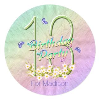 """décimotercero Arco iris y mariposas de la fiesta Invitación 5.25"""" X 5.25"""""""