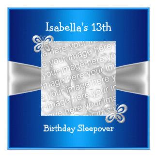 décimotercero Azul de la foto de la mariposa del S Invitación Personalizada