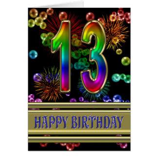 décimotercero Cumpleaños con las burbujas y los Tarjeta De Felicitación