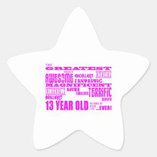 Décimotercero cumpleaños de los chicas: 13 años colcomanias forma de estrellas