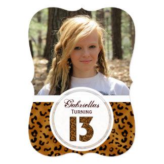 """Décimotercero cumpleaños del leopardo: Imagen: Invitación 5"""" X 7"""""""