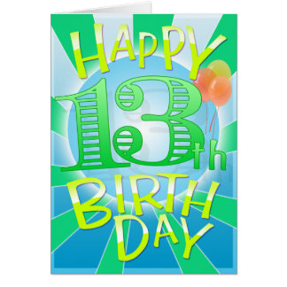 Décimotercero cumpleaños feliz tarjeta de felicitación
