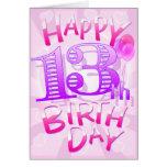 Décimotercero cumpleaños feliz tarjetón