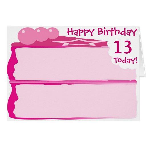 Décimotercero cumpleaños feliz tarjeton