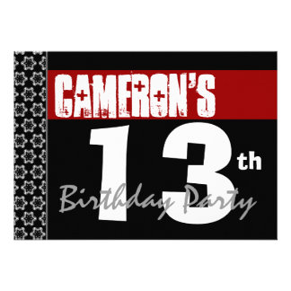 décimotercero Cumpleaños moderno para él negro bla Comunicados Personales