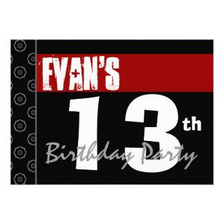 décimotercero Cumpleaños moderno para él negro bla Invitaciones Personales