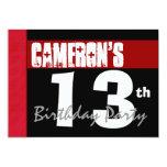 """décimotercero Cumpleaños moderno para él negro Invitación 5"""" X 7"""""""