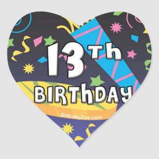 décimotercero Cumpleaños Pegatina En Forma De Corazón
