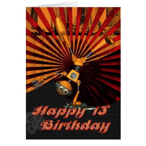 décimotercero Cumpleaños, tarjeta de cumpleaños de